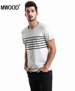 SIMWOOD Brand T-Shirts 2018 Summer Short Sleeve O-neck Stripe Printed Loose Slim T shirt Mens Tops Tee Free Shipping 180015 1