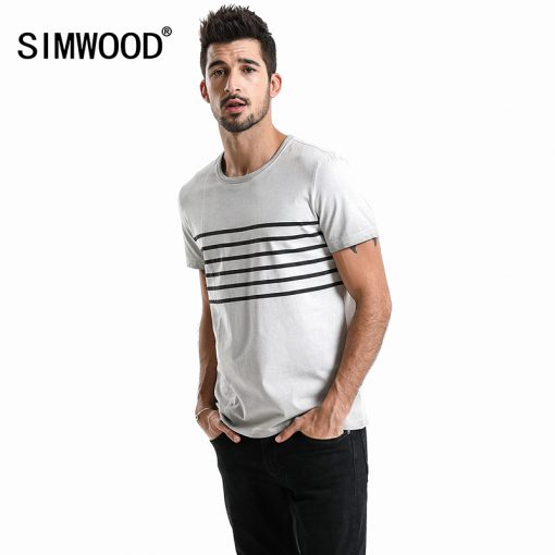 SIMWOOD Brand T-Shirts 2018 Summer Short Sleeve O-neck Stripe Printed Loose Slim T shirt Mens Tops Tee Free Shipping 180015 1
