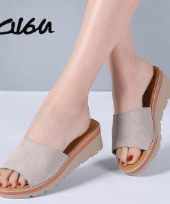 O16U Summer Women slippers Suede Leather Open Toe T-Strap Thick Soled Outside flip flops shoes women Wedges Flat Slides Sandals