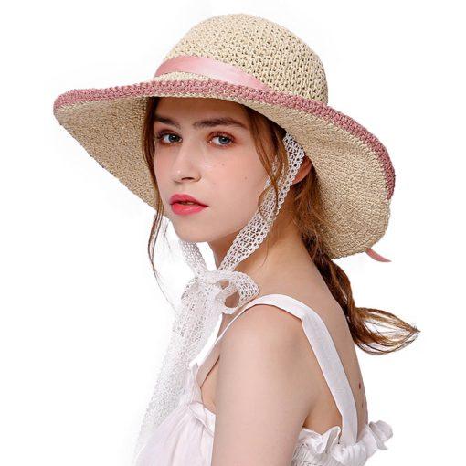 FS Large Brim Floppy Hats Women Beach Straw Hat With Elegant White Lace Ribbon 2018 New Fashion Sun UV Sombrero Mujer 1