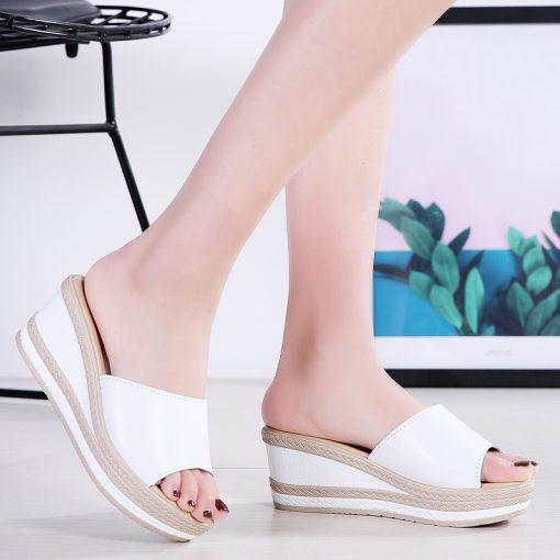 O16U Summer Slippers Women Flat Platform Sandals Shoes Beach Shoes Slip-on round toe Leather Wedges slides flip flops Ladies 3