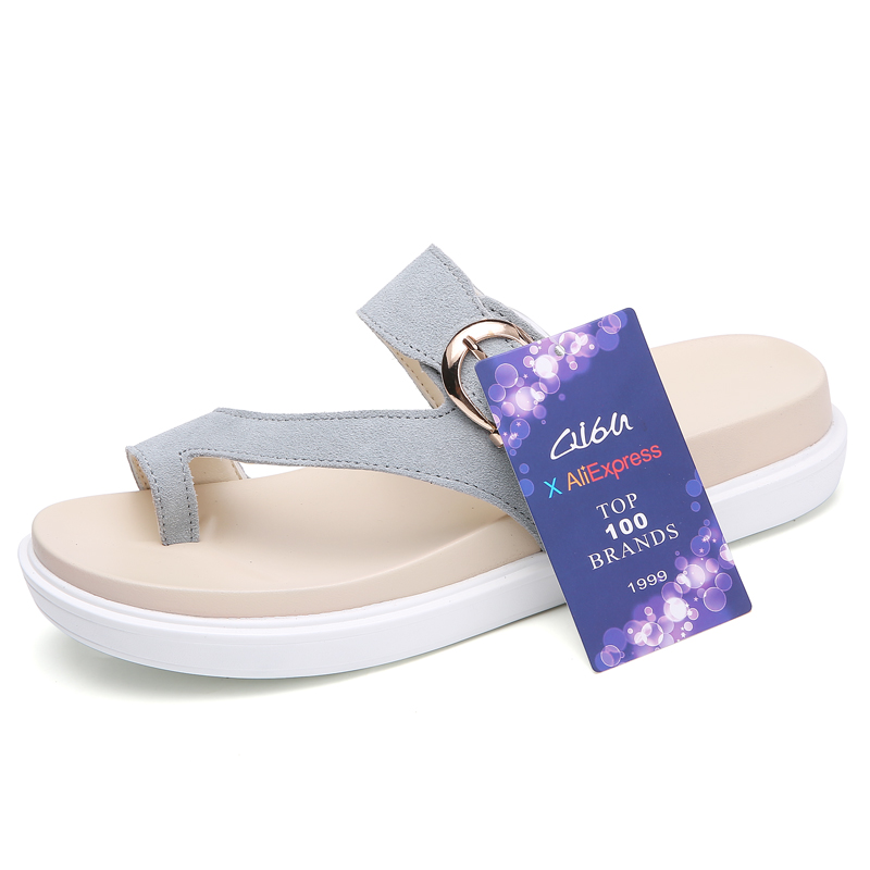 O16U 2018 Summer Women Outside Flip Flops Shoes Suede Leather Strap Low Heels Flat Slides Ladies Beach Sandals Women Slippers 1