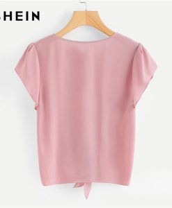 SHEIN Pink Petal Sleeve Knot Front Top Women Round Neck Short Sleeve Casual Blouse 2018 Summer New Plain Clothing Blouse 1