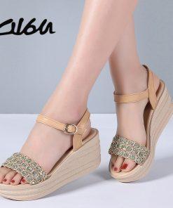 O16U Women Summer Sandals Shoes Genuine Leather Buckle Mature Sandals Ladies Crystal Wedges Platform Flat Sandals Women Shoes