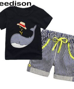 Summer Children Clothes Cartoon Kids Boy Clothing Set Kids Suit Boy Stripes Pants Shorts T Shirts for Boys Short Sleeve Tops