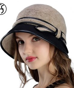 Fs 2017 Vintage Wool Fedoras For Women Winter Casual Bow Felt Hat Fedora Ladies Church Hats Elegant Wide Brim Patchwork Trilby