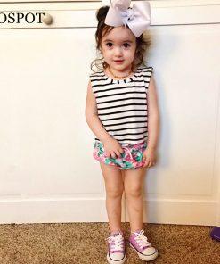 COSPOT Baby Girls Summer Clothing Set T Shirt+Shorts Newborn Girl 2Pcs Set Striped T-shirt Floral Shorts Girl's  Floral Suit 42C