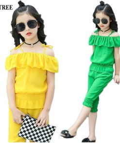 Summer Girls Clothing Set Chiffon Clothes Sets For Girl Colored Children Outfit 3-12T Teenager Suits For Girls Costume