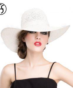 FS Spring Summer Straw Hats For Women Large Wide Brim Floppy Sun Hat Fashion White Ladies Beach Travel Girls Cap Gorra Plana