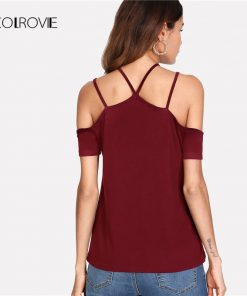 COLROVIE Strappy Cold Shoulder T-shirt 2018 New Burgundy Short Sleeve Halter Women T-shirt Top Summer Casual Female Clothes 1