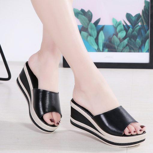 O16U Summer Slippers Women Flat Platform Sandals Shoes Beach Shoes Slip-on round toe Leather Wedges slides flip flops Ladies 5