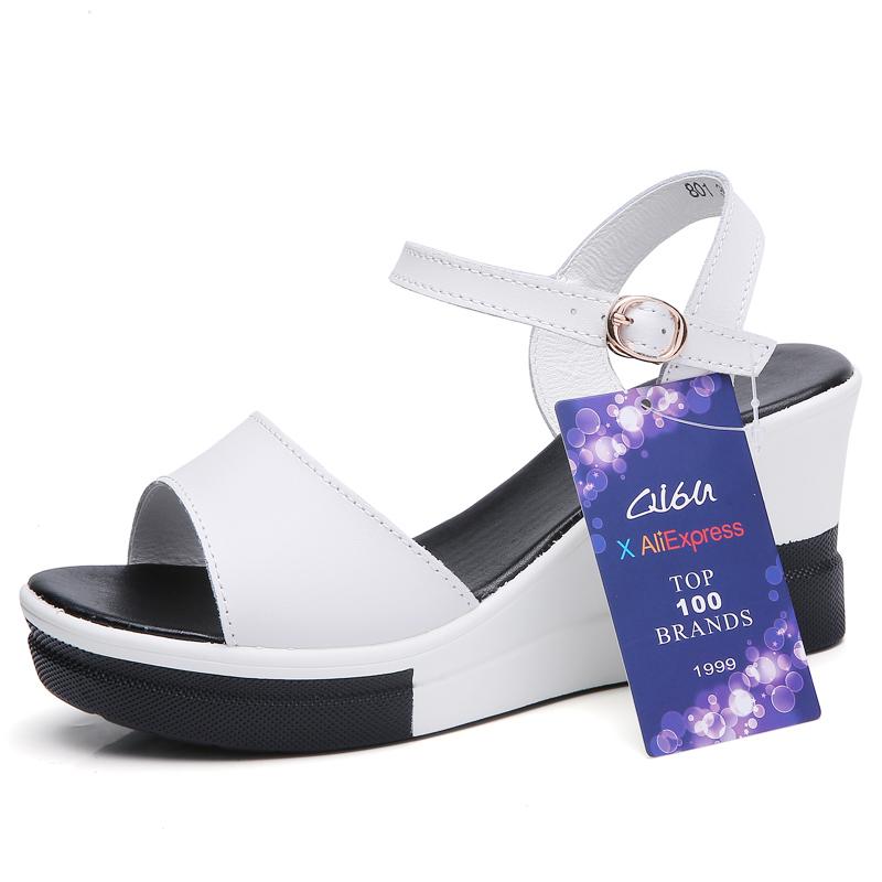O16U 2018 Summer Women Flat Sandals shoes women Wedges Platform Sandalias Buckle Leather High Heels Casual Strap Sandals Ladies 1
