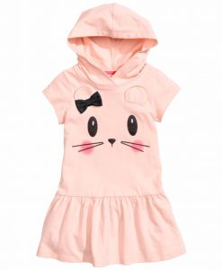 Summer Girl Dress 2018 Brand Hooded Cartoon Girls Dress Active Cartoon Cats Pattern Children Clothing 2-6 year Kids Dress