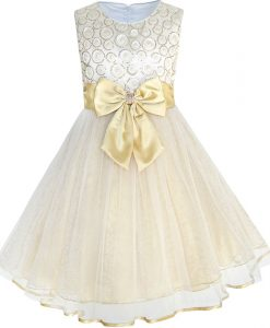 Sunny Fashion Flower Girls Dress Bow Tie Champagne Wedding Pageant 2018 Summer Princess Party Dresses Children Clothes Size 2-10 1