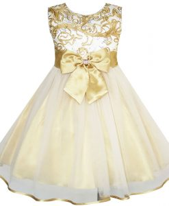Sunny Fashion Flower Girls Dress Bow Tie Champagne Wedding Pageant 2018 Summer Princess Party Dresses Children Clothes Size 2-10
