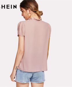 SHEIN Pink Tie Neck Petal Sleeve Top Women Frill Trim Stand Collar Short Sleeve Plain Blouse 2018 Summer Elegant Work Blouse 1