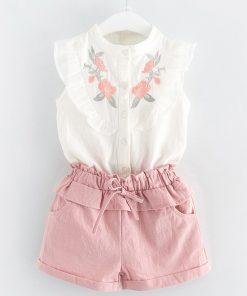 Kids Clothes 2018 Sleeveless Summer Style Baby Girls Shirt +Shorts + Belt 3pcs Suit Children Clothing Sets Fashion Style 1
