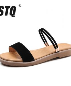 STQ 2018 Summer women sandals black flat Sandals women flat rubber Sandalias slippers ladies flat low heel slides sandals 8025-1 1