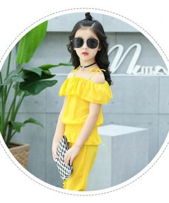 Summer Girls Clothing Set Chiffon Clothes Sets For Girl Colored Children Outfit 3-12T Teenager Suits For Girls Costume 1