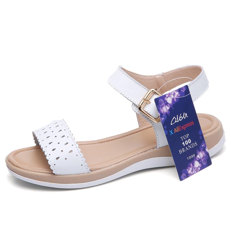 O16U 2018 Women T Strap Leather Sandals Shoes Flat Buckle Cut Out Retro low heel Sandals Shoes Ladies Casual Summer Shoes Women 1
