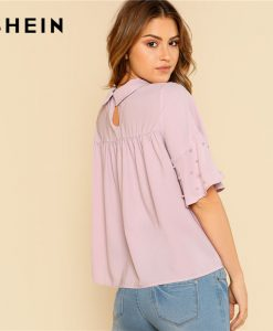 SHEIN Purple Pearls Beading Ruffle Mesh Top Women Lettuce Trim Glitter Striped Flare Sleeve Plain Blouse 2018 Elegant Blouse 1