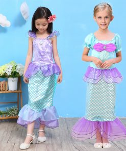 Cute Girls Summer Dress Girl Princess Dress Halloween Ariel Cosplay Costume Mermaid Dress Kids Clothes Beach Children Clothing