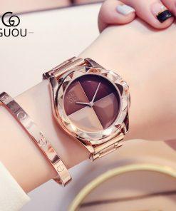 GUOU Watches Women Top Luxury Ladies Watch Blush Paragraph Tide Quartz Watch Fashion Trend Stainless Steel Women Watch saat
