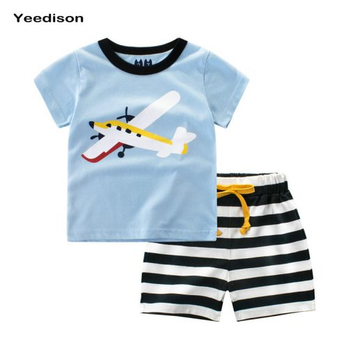 Yeedison 2018 Summer Kids Boys Clothes Set Casual Children Clothing Boys Set Cartoon Prints T-shirts Shorts Cotton Kids Outfits