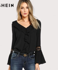 SHEIN Black Ruffle Neck Lace Insert Pleated Casual Top Women V Neck Flare Sleeve Plain Blouse 2018 Spring Elegant Blouse