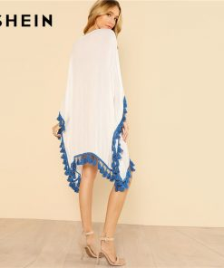 SHEIN Lace Up Embroidered Poncho Top Women Oversized Batwing Sleeve Geometric Long Blouse 2018 3/4 Sleeve Asymmetrical Blouse 1