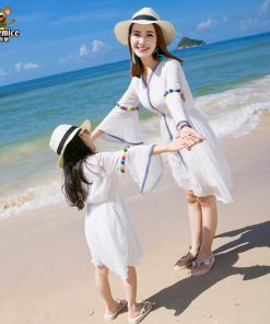 Mother Daughter Dress 2018 Summer Style Family Matching Outfits Family Clothing mommy and me clothes Family look matching dress