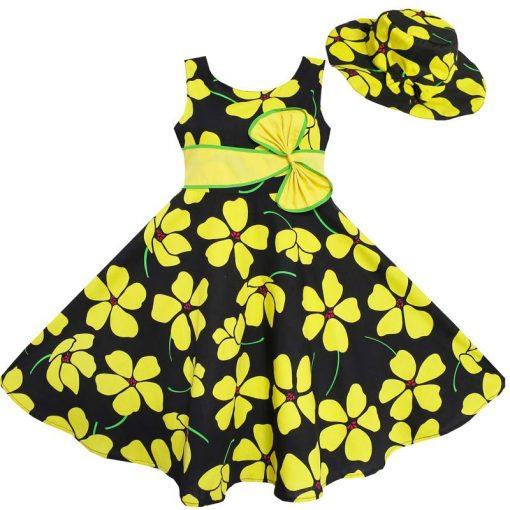 Sunny Fashion 2 Pecs Girls Dress Sunhat Bow Tie Flower Summer Beach Kids Clothing Cotton 2018 Summer Princess Wedding Size 4-12 1