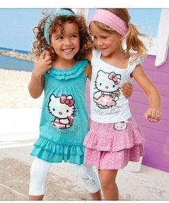 COSPOT 2018 New Rush Sale Baby Girls Hello Kitty Suits Children 3Pcs Sets Headband+Dress+Pants Girl's Clothing Set Dresses C13 1