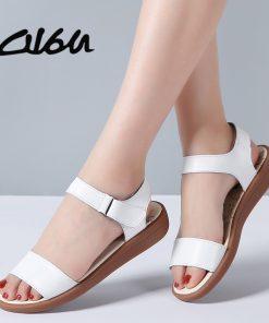 O16U 2018 Women Basic Sandals Summer Shoes genuine leather flat sandals ankle strap flat sandals ladies white gladiator sandals