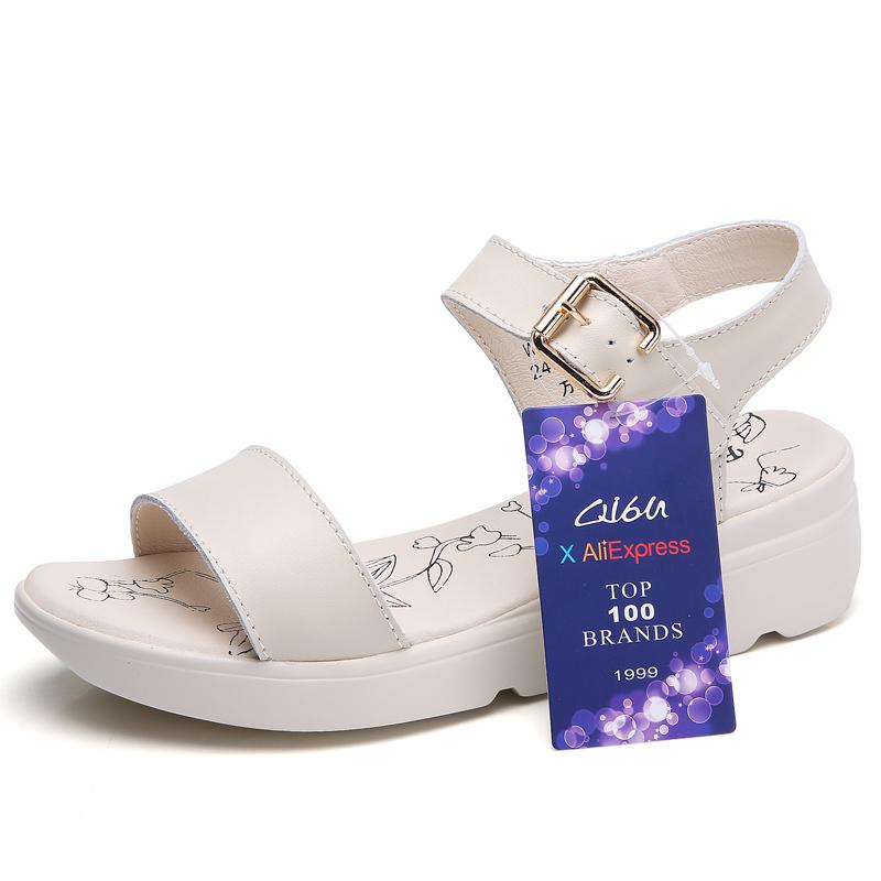 O16U 2018 Women Sandals Summer Shoes Leather Basic Casual sandals Flat Platform sandals ladies T strap Flats sandals Women Brand 1