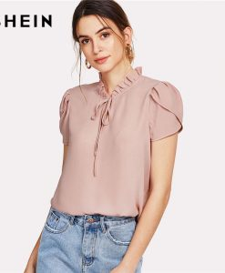 SHEIN Pink Tie Neck Petal Sleeve Top Women Frill Trim Stand Collar Short Sleeve Plain Blouse 2018 Summer Elegant Work Blouse