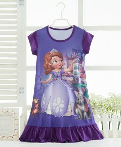 Elsa Anna Sofia Princess Dress Summer Girls Dress Nightgown Kids Dresses Night Gown Pajamas Dress Sleepwear Pyjamas Clothes 1