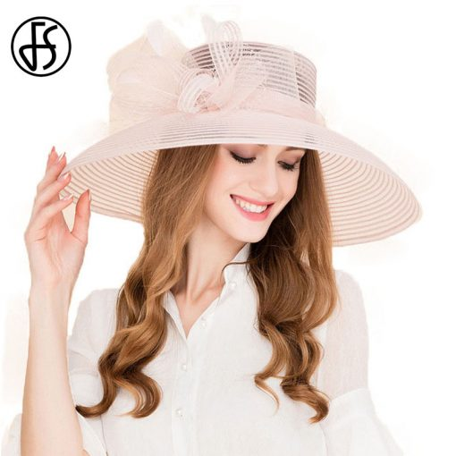 FS Women 100% Organza Hat Large Brim Bowknot Decoration Flowers 2017 Elegant Ladies Wedding Dress Derby Floppy Hats