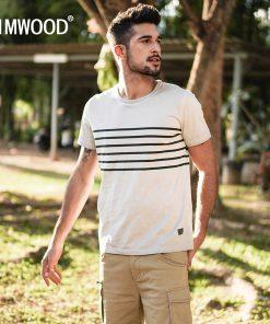 SIMWOOD Brand T-Shirts 2018 Summer Short Sleeve O-neck Stripe Printed Loose Slim T shirt Mens Tops Tee Free Shipping 180015