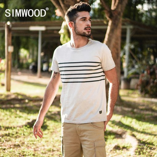 SIMWOOD Brand T-Shirts 2018 Summer Short Sleeve O-neck Stripe Printed Loose Slim T shirt Mens Tops Tee Free Shipping 180015