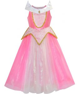 Sunny Fashion Princess Aurora Costume Briar Rose Dress Up Blue 2018 Summer Wedding Party Dresses Children Clothes Size 5-12 1