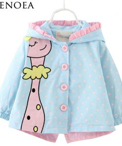 2018  New Spring Fashion baby girl coats Jackets clothing Baby Clothes cartoon Coats dots hooded Children Outerwear&Coats