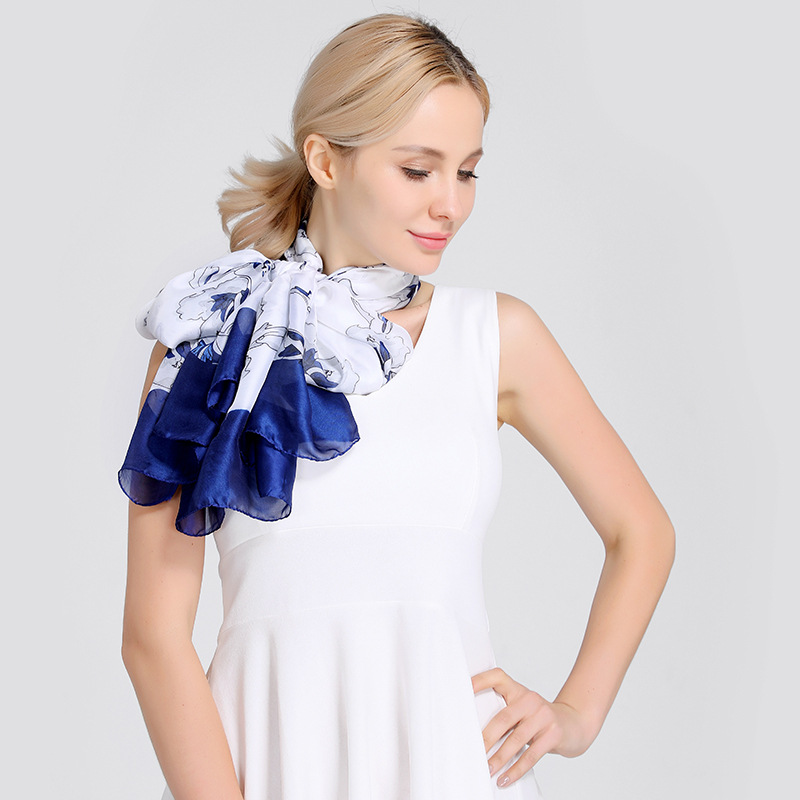 Scarves Women Silk Scarf 2018 Poncho Summer Skinny Ethnic Plaid Twill For Dress Scarfs High Quality Designer Casual Clothing 1