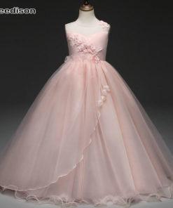 Yeedison Cute Princess Dress Wedding Girl Sleeveless Flower Girl Dresses for Weddings O Neck Girl Party Dress Kids Clothing