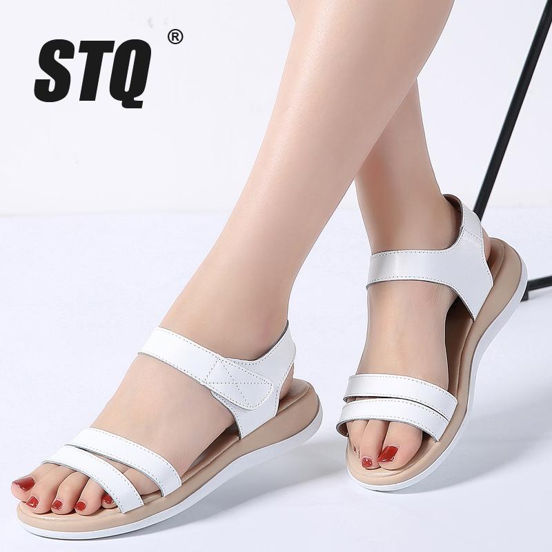 STQ 2018 Women sandals summer genuine leather flat sandals ankle strap beach sandals ladies white gladiator sandals WF038