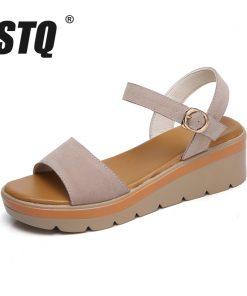 STQ 2018 Women sandals summer suede leather high thick heel wedge sandals Platform sandals ladies ankle strap flat sandals 848 1