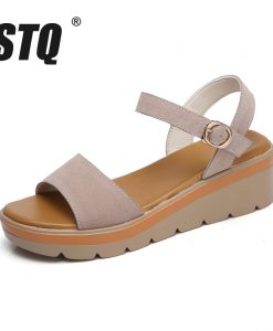 STQ 2018 Women sandals summer suede leather high thick heel wedge sandals Platform sandals ladies ankle strap flat sandals 848 1