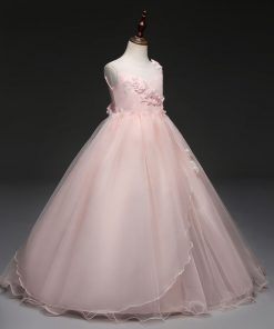 Yeedison Cute Princess Dress Wedding Girl Sleeveless Flower Girl Dresses for Weddings O Neck Girl Party Dress Kids Clothing 1