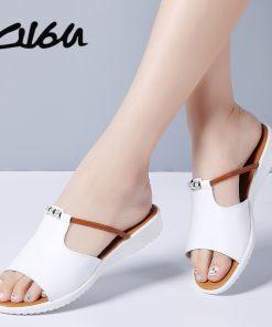 O16U Women Slipper Shoes Genuine Leather Slide Shoes Ladies Outside Flip Flops Women Sandals Women Gladiator Summer Mules Shoes