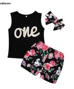 New One Year Birthday Girl Set Summer 2018 Toddler Girl Top Sleeveless Shorts Baby Girl Clothing Sets Infant 3pcs Suit